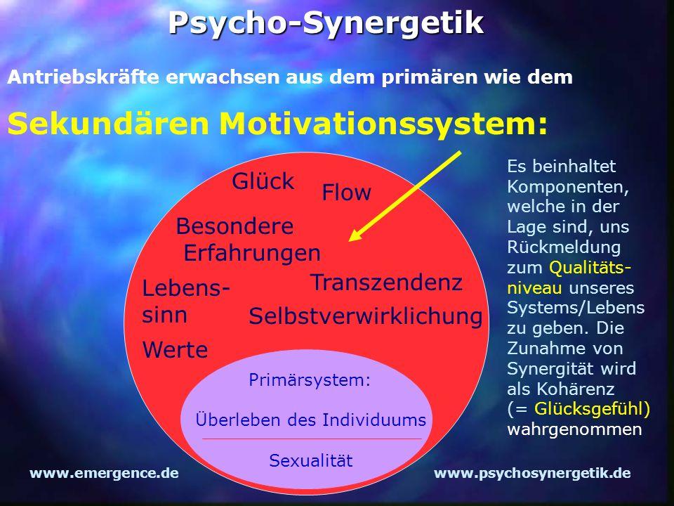 www.emergence.dewww.psychosynergetik.dePsycho-Synergetik Sekundären Motivationssystem: Lebens- sinn Werte Glück Flow Besondere Erfahrungen Transzenden
