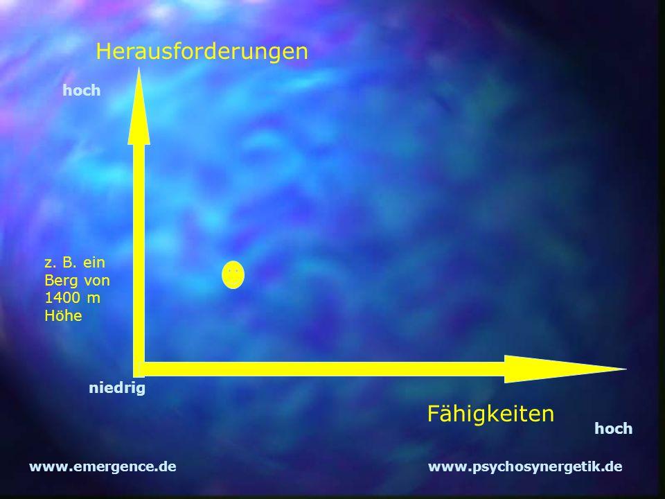 www.emergence.dewww.psychosynergetik.de Herausforderungen Fähigkeiten z. B. ein Berg von 1400 m Höhe hoch niedrig hoch
