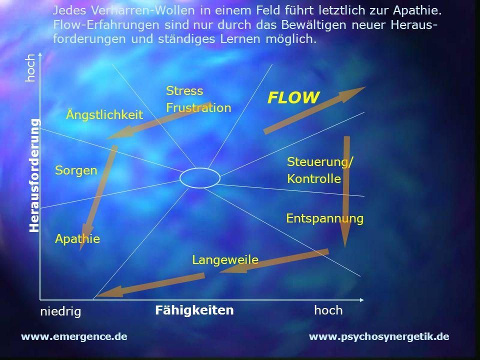 www.emergence.dewww.psychosynergetik.de Langeweile Apathie Sorgen Ängstlichkeit Stress Frustration FLOW Steuerung/ Kontrolle Entspannung niedrig hochF