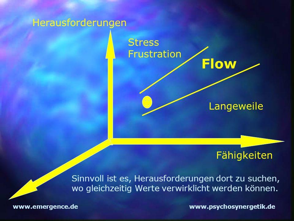 www.emergence.dewww.psychosynergetik.de Herausforderungen Fähigkeiten Flow Langeweile Stress Frustration Sinnvoll ist es, Herausforderungen dort zu su