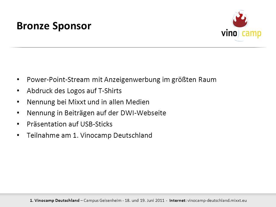 1. Vinocamp Deutschland – Campus Geisenheim - 18. und 19. Juni 2011 - Internet: vinocamp-deutschland.mixxt.eu Bronze Sponsor Power-Point-Stream mit An