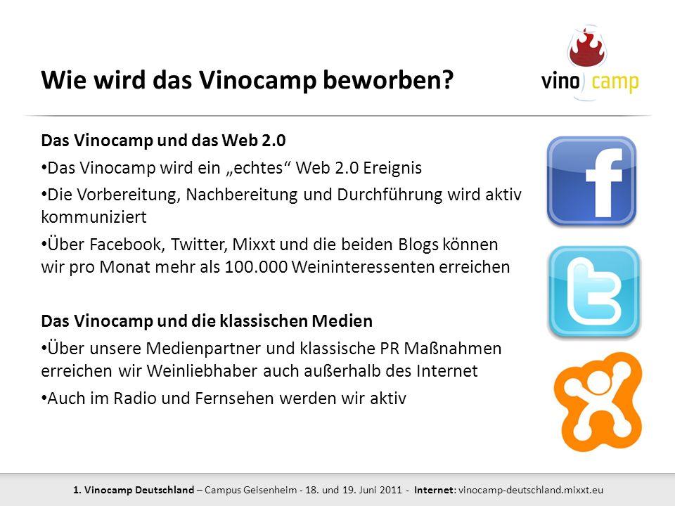 1. Vinocamp Deutschland – Campus Geisenheim - 18. und 19. Juni 2011 - Internet: vinocamp-deutschland.mixxt.eu Wie wird das Vinocamp beworben? Das Vino