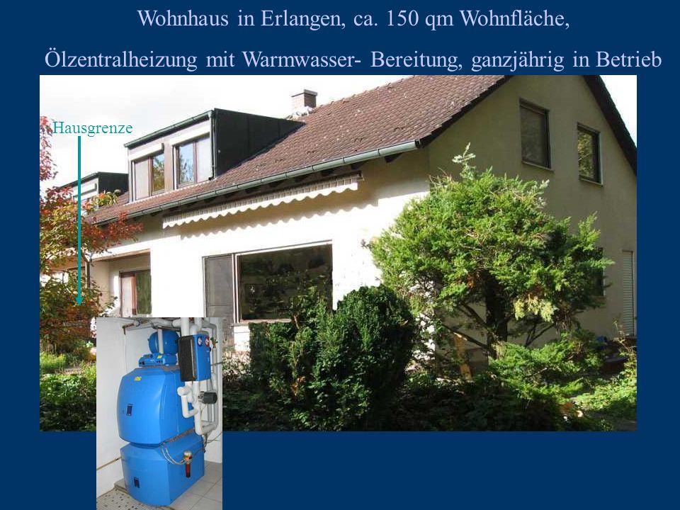 Wohnhaus in Erlangen, ca. 150 qm Wohnfläche, Ölzentralheizung mit Warmwasser- Bereitung, ganzjährig in Betrieb Hausgrenze