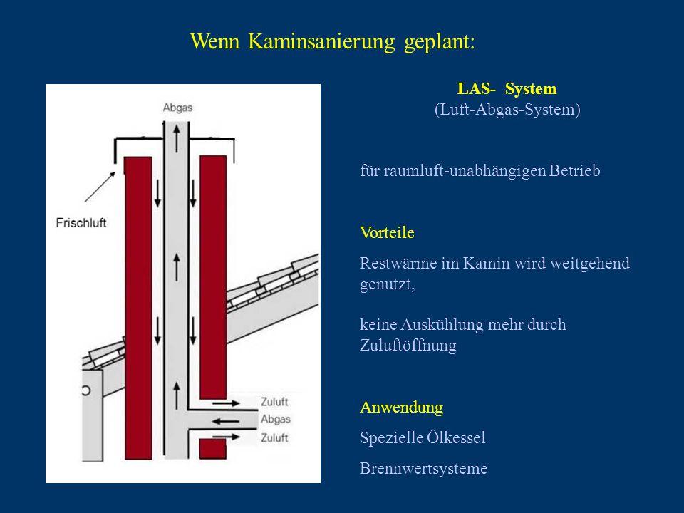 LAS- System (Luft-Abgas-System) für raumluft-unabhängigen Betrieb Vorteile Restwärme im Kamin wird weitgehend genutzt, keine Auskühlung mehr durch Zul
