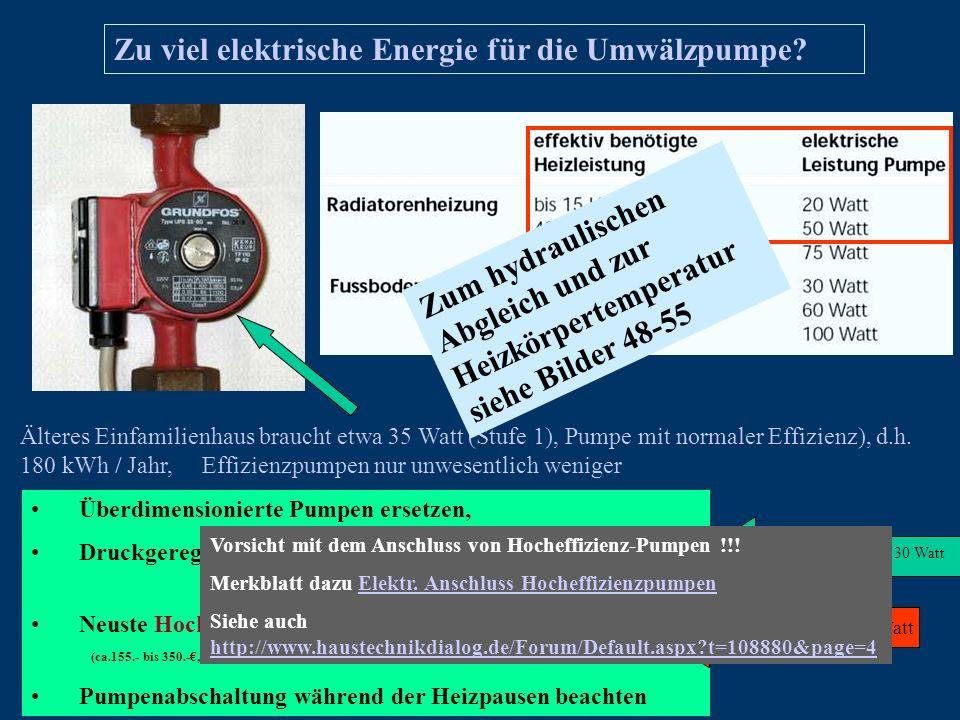 Zu viel elektrische Energie für die Umwälzpumpe? Älteres Einfamilienhaus braucht etwa 35 Watt (Stufe 1), Pumpe mit normaler Effizienz), d.h. 180 kWh /