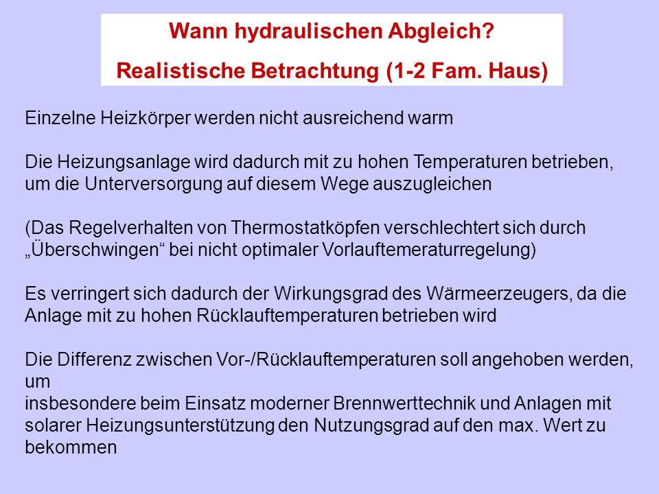 Einzelne Heizkörper werden nicht ausreichend warm Die Heizungsanlage wird dadurch mit zu hohen Temperaturen betrieben, um die Unterversorgung auf dies