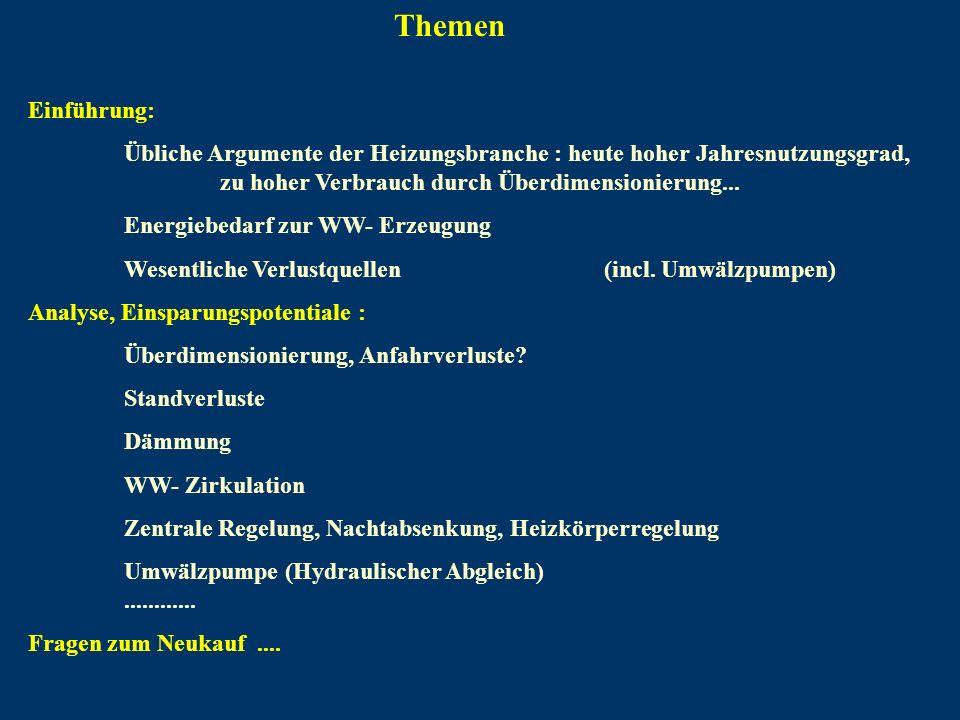 Einführung: Übliche Argumente der Heizungsbranche : heute hoher Jahresnutzungsgrad, zu hoher Verbrauch durch Überdimensionierung... Energiebedarf zur
