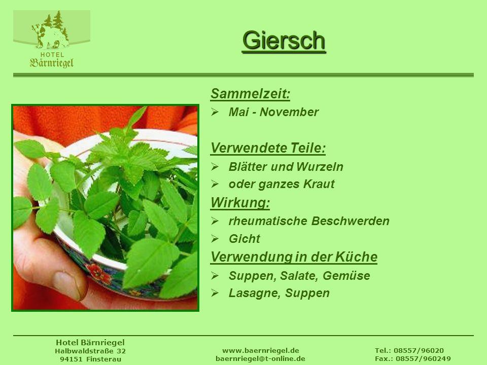 Tel.: 08557/96020 Fax.: 08557/960249 www.baernriegel.de baernriegel@t-online.de Hotel Bärnriegel Halbwaldstraße 32 94151 Finsterau Giersch Sammelzeit: