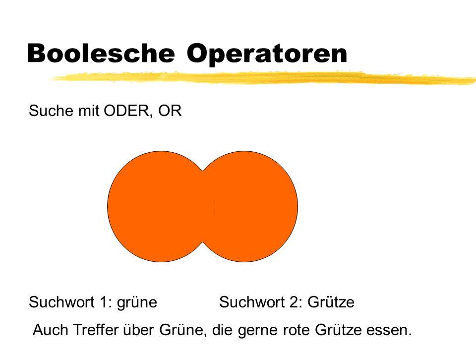Boolesche Operatoren Suche mit ODER, OR Suchwort 1: grüneSuchwort 2: Grütze Auch Treffer über Grüne, die gerne rote Grütze essen.