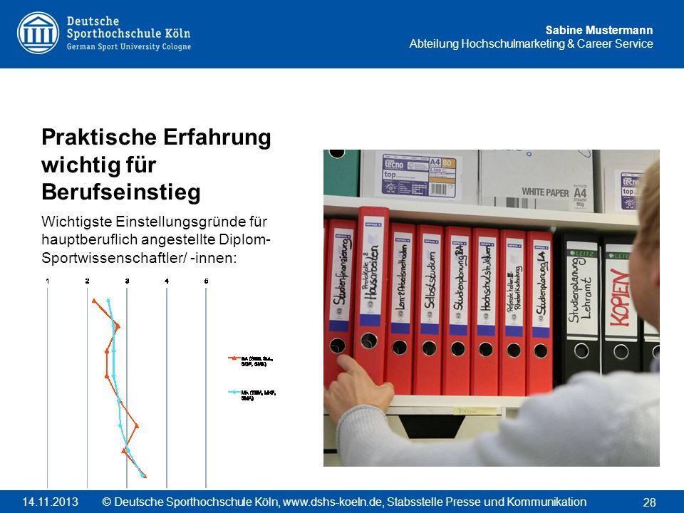 Sabine Mustermann Abteilung Hochschulmarketing & Career Service Praktische Erfahrung wichtig für Berufseinstieg Wichtigste Einstellungsgründe für haup