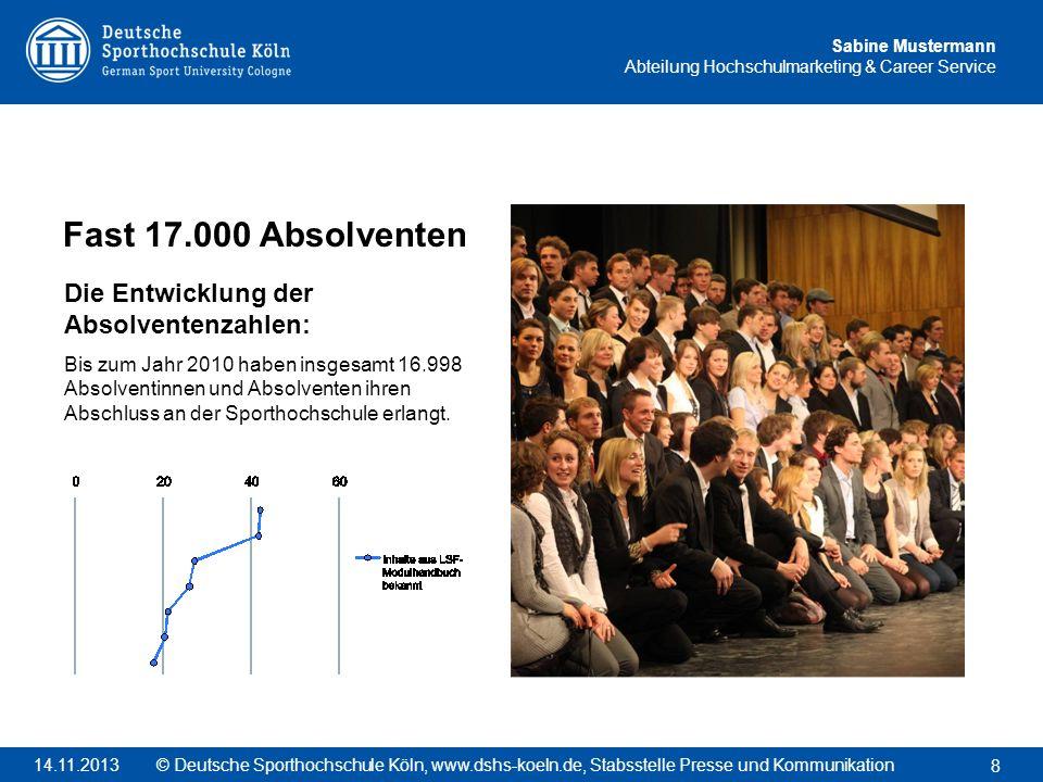 Sabine Mustermann Abteilung Hochschulmarketing & Career Service Fast 17.000 Absolventen Die Entwicklung der Absolventenzahlen: Bis zum Jahr 2010 haben