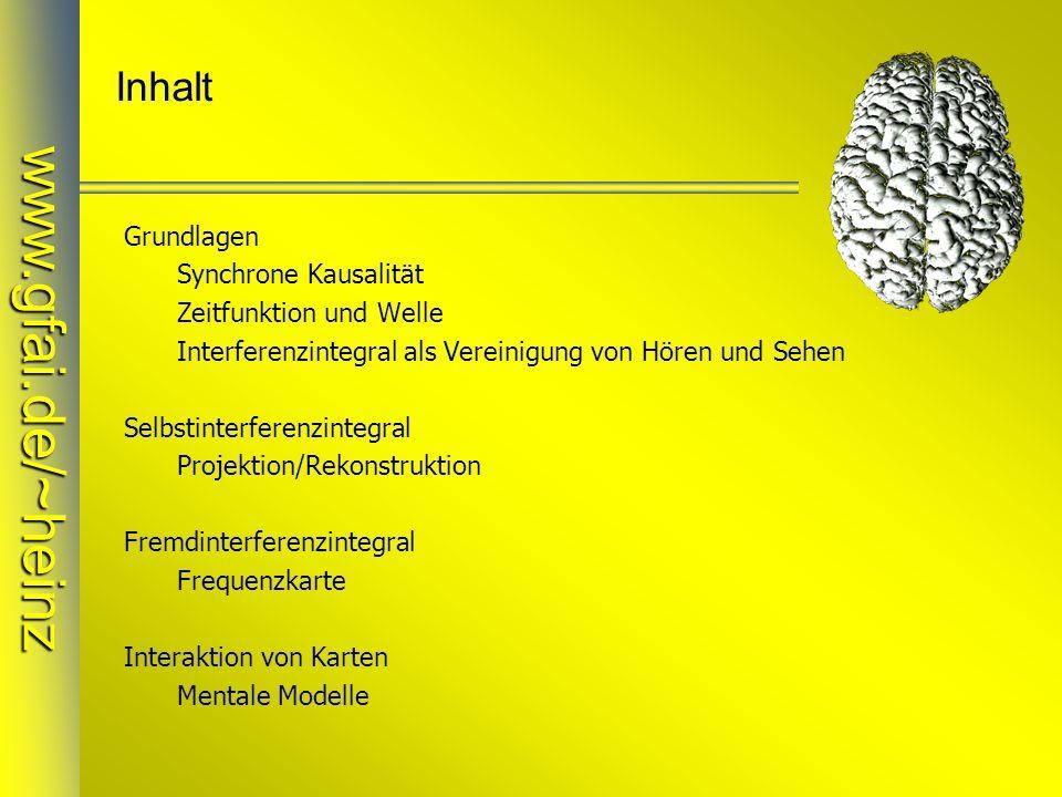 www.gfai.de/~heinz Inhalt Grundlagen Synchrone Kausalität Zeitfunktion und Welle Interferenzintegral als Vereinigung von Hören und Sehen Selbstinterfe