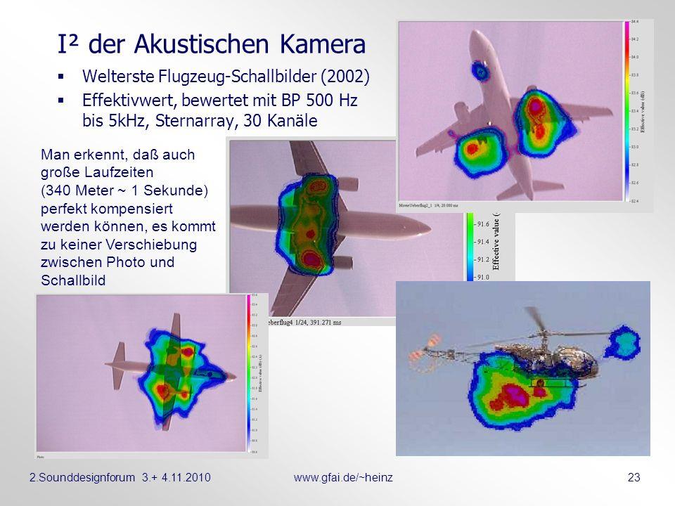 2.Sounddesignforum 3.+ 4.11.2010www.gfai.de/~heinz 23 I² der Akustischen Kamera Welterste Flugzeug-Schallbilder (2002) Effektivwert, bewertet mit BP 5