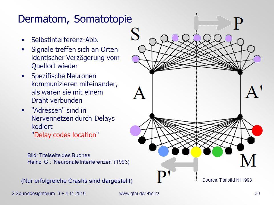 2.Sounddesignforum 3.+ 4.11.2010www.gfai.de/~heinz 30 Dermatom, Somatotopie Selbstinterferenz-Abb. Signale treffen sich an Orten identischer Verzögeru