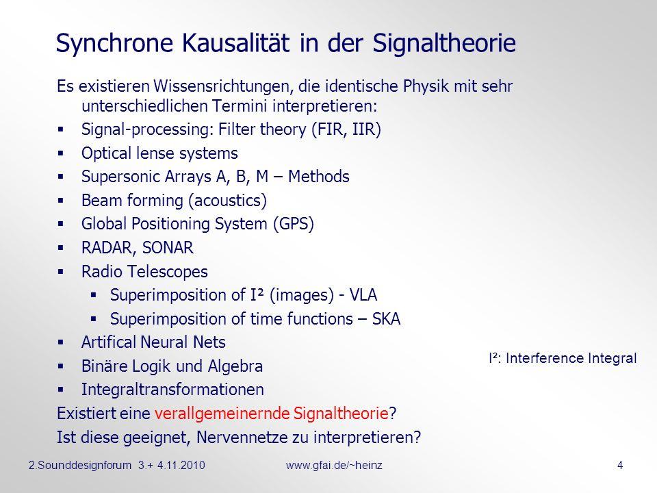 2.Sounddesignforum 3.+ 4.11.2010www.gfai.de/~heinz 4 Synchrone Kausalität in der Signaltheorie Es existieren Wissensrichtungen, die identische Physik