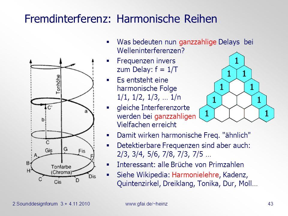2.Sounddesignforum 3.+ 4.11.2010www.gfai.de/~heinz 43 Fremdinterferenz: Harmonische Reihen Was bedeuten nun ganzzahlige Delays bei Welleninterferenzen