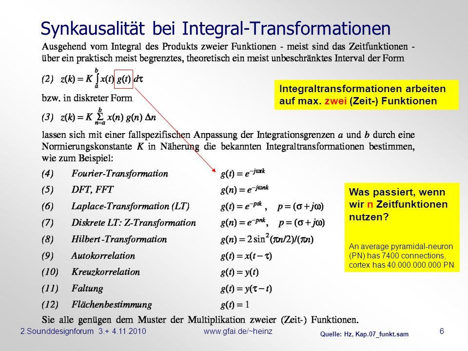 2.Sounddesignforum 3.+ 4.11.2010www.gfai.de/~heinz 6 Synkausalität bei Integral-Transformationen Quelle: Hz, Kap.07_funkt.sam Integraltransformationen