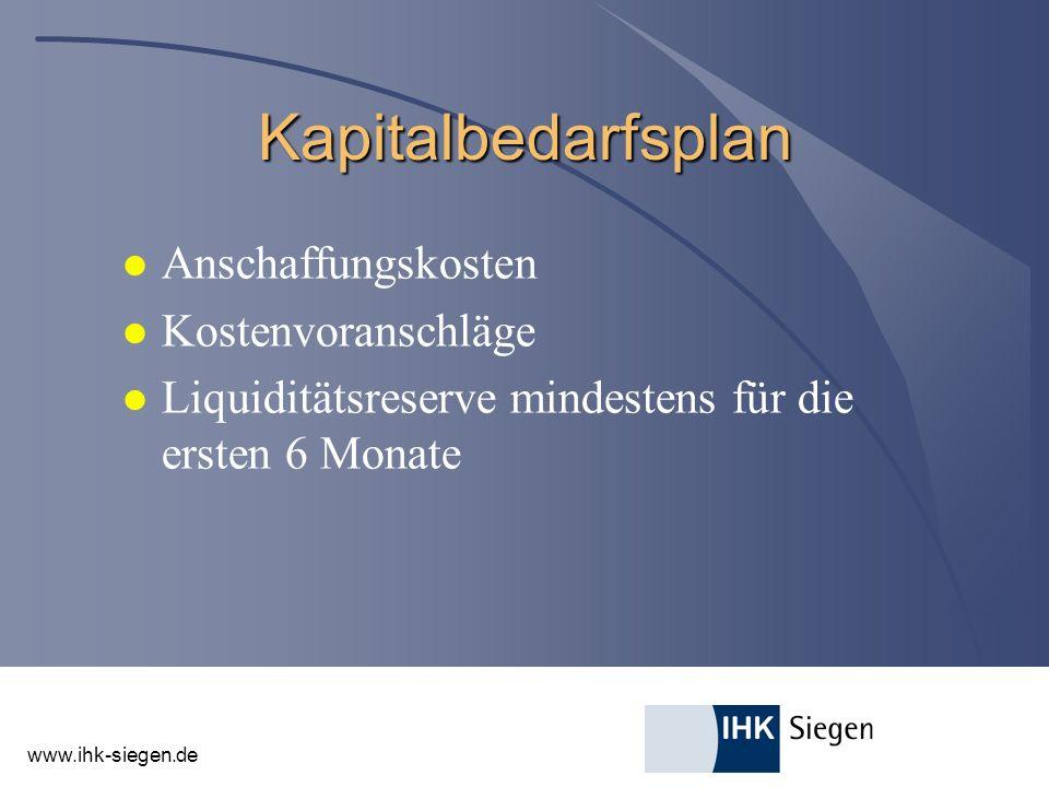 www.ihk-siegen.de Kapitalbedarfsplan l Anschaffungskosten l Kostenvoranschläge l Liquiditätsreserve mindestens für die ersten 6 Monate