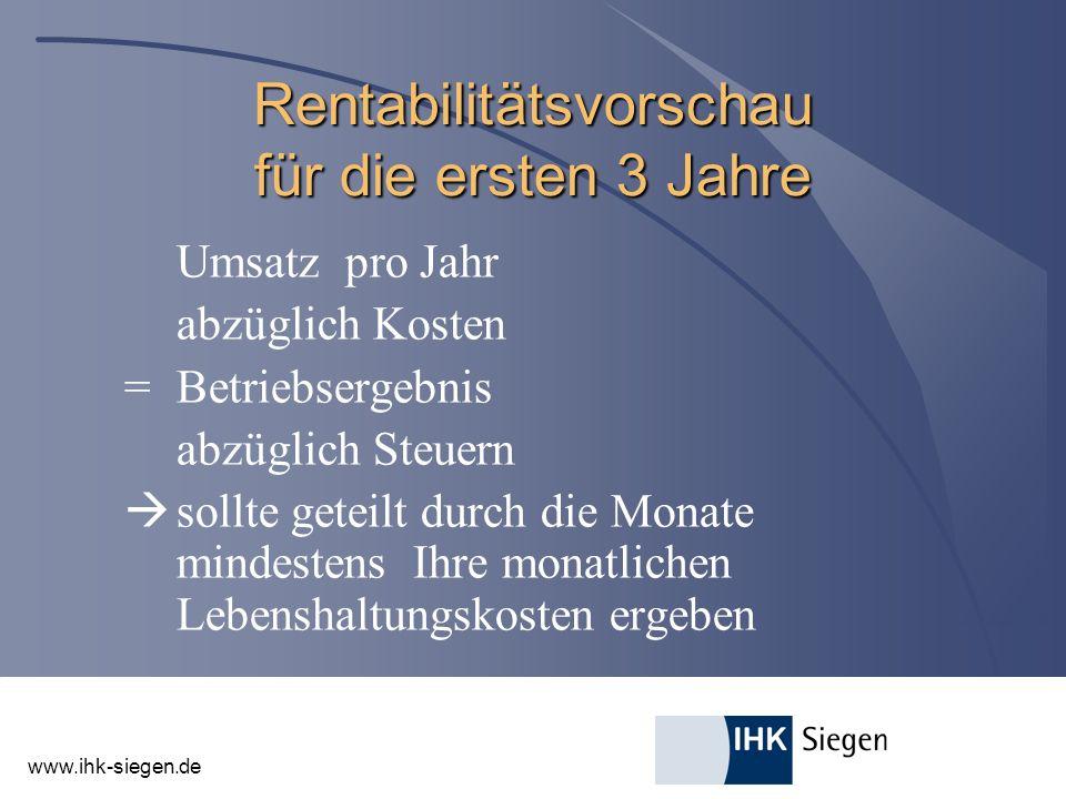 www.ihk-siegen.de Rentabilitätsvorschau für die ersten 3 Jahre Umsatz pro Jahr abzüglich Kosten =Betriebsergebnis abzüglich Steuern sollte geteilt durch die Monate mindestens Ihre monatlichen Lebenshaltungskosten ergeben