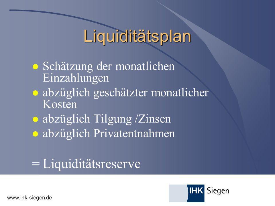 www.ihk-siegen.de Liquiditätsplan l Schätzung der monatlichen Einzahlungen l abzüglich geschätzter monatlicher Kosten l abzüglich Tilgung /Zinsen l ab