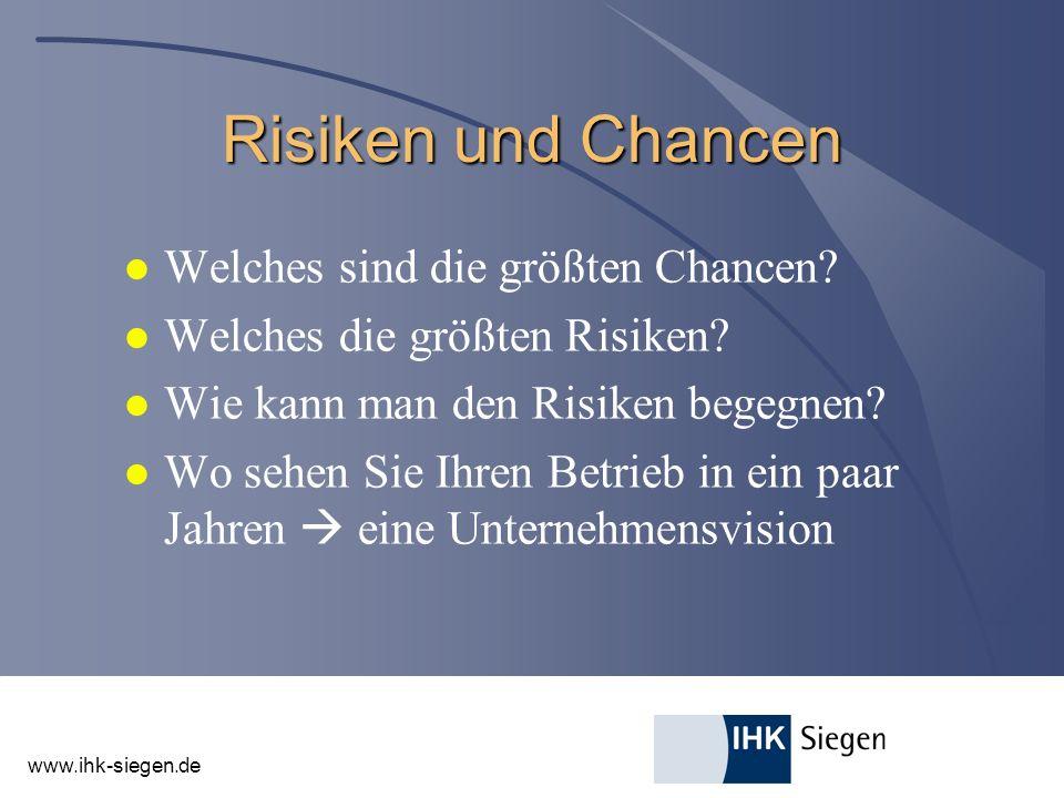 www.ihk-siegen.de Risiken und Chancen l Welches sind die größten Chancen? l Welches die größten Risiken? l Wie kann man den Risiken begegnen? l Wo seh