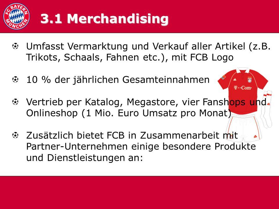 Umfasst Vermarktung und Verkauf aller Artikel (z.B. Trikots, Schaals, Fahnen etc.), mit FCB Logo 10 % der jährlichen Gesamteinnahmen Vertrieb per Kata