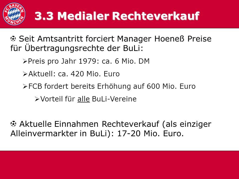 3.3 Medialer RV 3.3 Medialer Rechteverkauf Seit Amtsantritt forciert Manager Hoeneß Preise für Übertragungsrechte der BuLi: Preis pro Jahr 1979: ca. 6