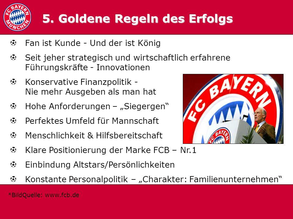 5.0 Goldene Regeln 5. Goldene Regeln des Erfolgs Fan ist Kunde - Und der ist König Seit jeher strategisch und wirtschaftlich erfahrene Führungskräfte