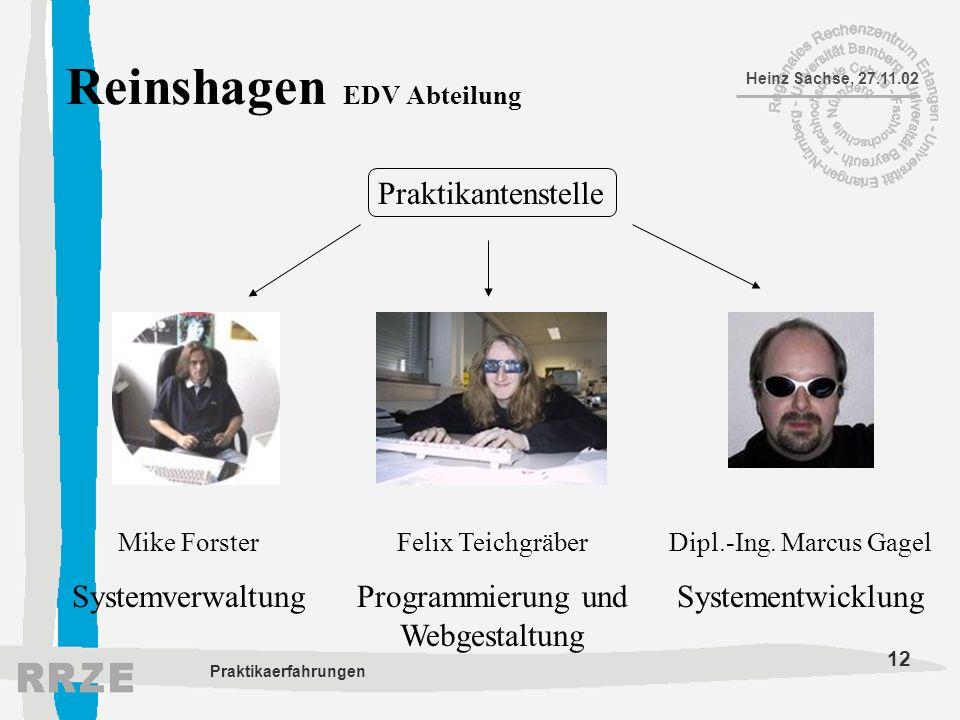 12 Heinz Sachse, 27.11.02 Praktikaerfahrungen Reinshagen EDV Abteilung Mike Forster Systemverwaltung Felix Teichgräber Programmierung und Webgestaltun