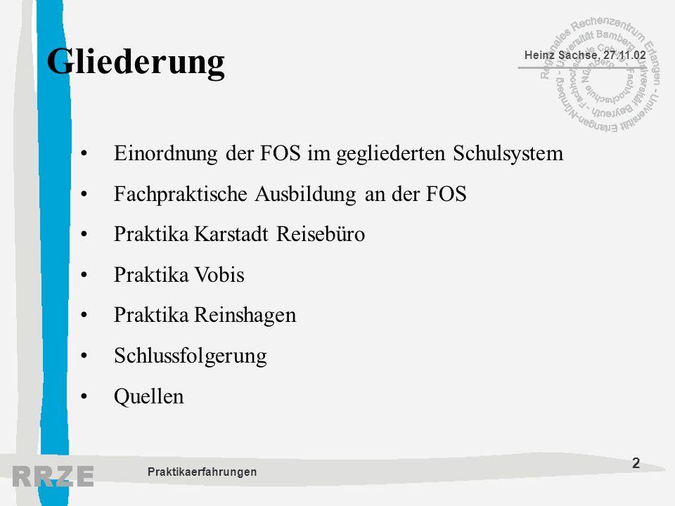 2 Heinz Sachse, 27.11.02 Praktikaerfahrungen Gliederung Einordnung der FOS im gegliederten Schulsystem Fachpraktische Ausbildung an der FOS Praktika K