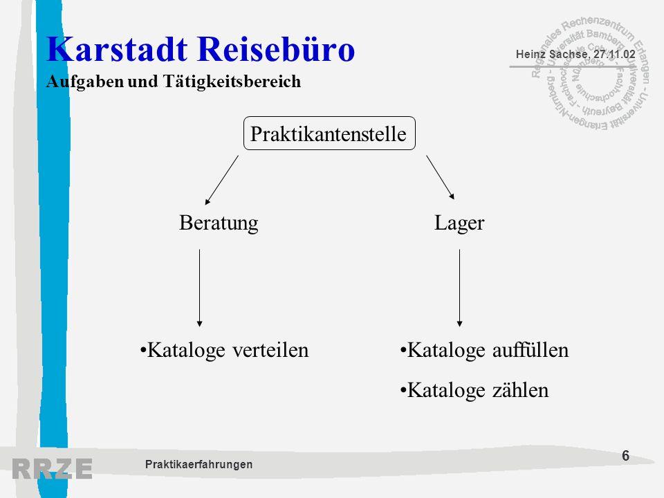 6 Heinz Sachse, 27.11.02 Praktikaerfahrungen Karstadt Reisebüro Aufgaben und Tätigkeitsbereich Praktikantenstelle BeratungLager Kataloge verteilenKata
