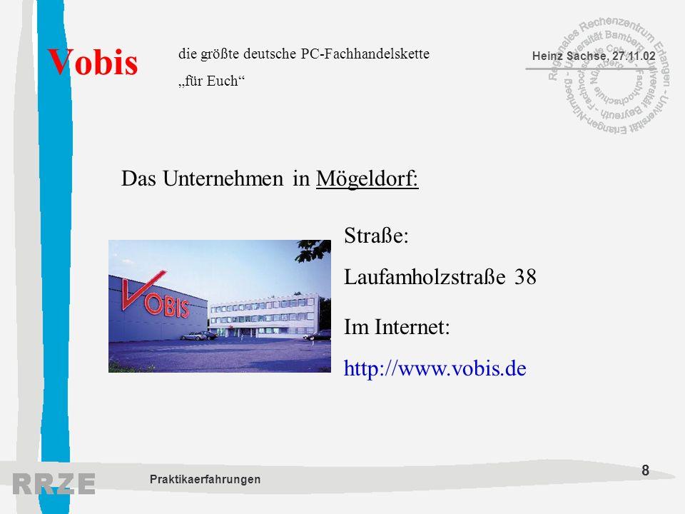8 Heinz Sachse, 27.11.02 Praktikaerfahrungen Vobis die größte deutsche PC-Fachhandelskette für Euch Das Unternehmen in Mögeldorf: Straße: Laufamholzst