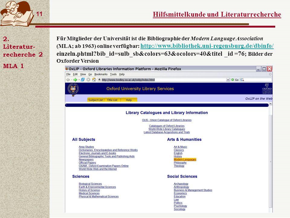 Hilfsmittelkunde und Literaturrecherche 11 2.