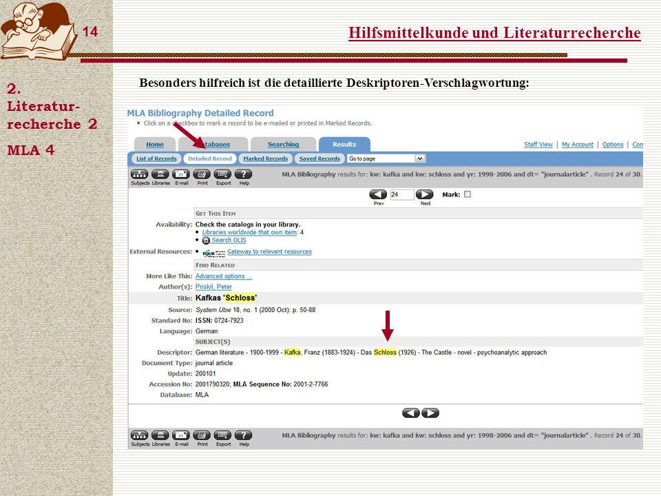 Hilfsmittelkunde und Literaturrecherche 14 2.