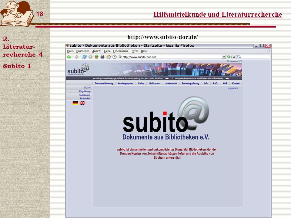 Hilfsmittelkunde und Literaturrecherche 18 2.