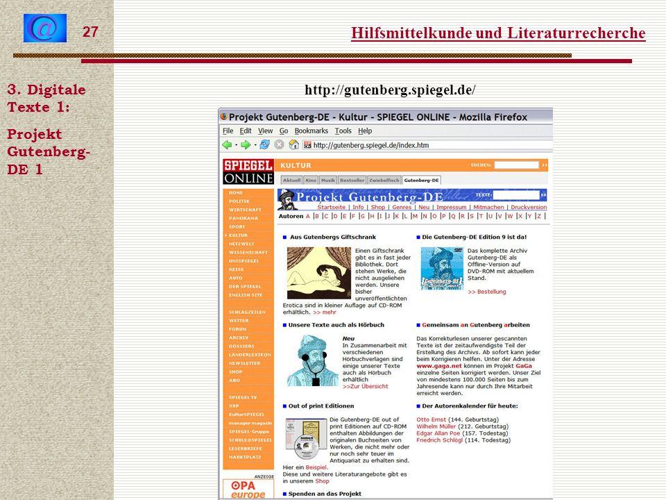 Hilfsmittelkunde und Literaturrecherche 27 3.