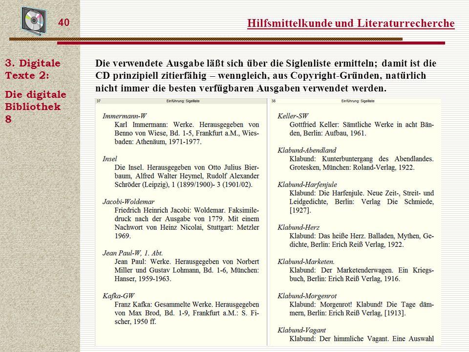Hilfsmittelkunde und Literaturrecherche 40 3.