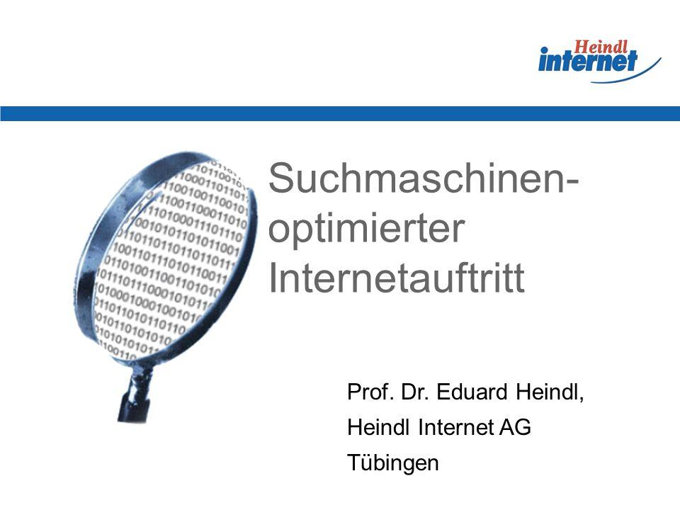Suchmaschinen- optimierter Internetauftritt Prof. Dr. Eduard Heindl, Heindl Internet AG Tübingen