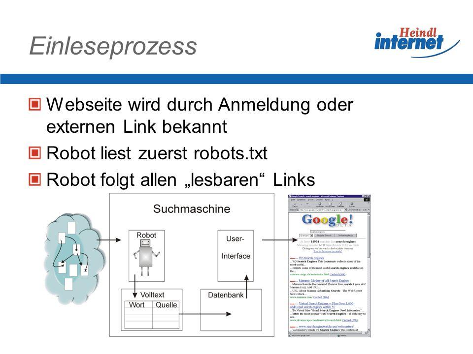 Einleseprozess Webseite wird durch Anmeldung oder externen Link bekannt Robot liest zuerst robots.txt Robot folgt allen lesbaren Links