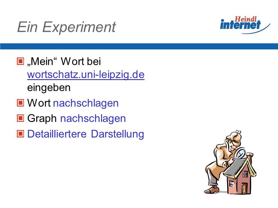 Ein Experiment Mein Wort bei wortschatz.uni-leipzig.de eingeben Wort nachschlagen Graph nachschlagen Detailliertere Darstellung