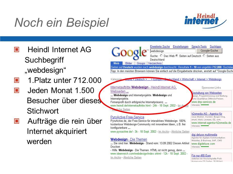 Noch ein Beispiel Heindl Internet AG Suchbegriff webdesign 1.Platz unter 712.000 Jeden Monat 1.500 Besucher über dieses Stichwort Aufträge die rein über Internet akquiriert werden