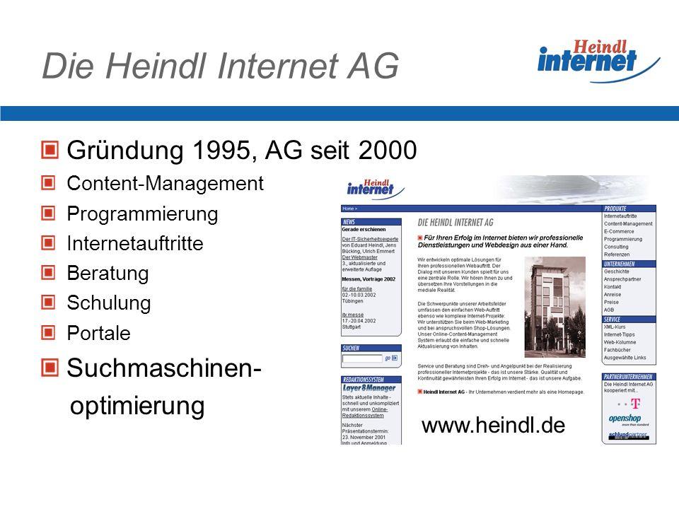 Die Heindl Internet AG Gründung 1995, AG seit 2000 Content-Management Programmierung Internetauftritte Beratung Schulung Portale Suchmaschinen- optimierung www.heindl.de