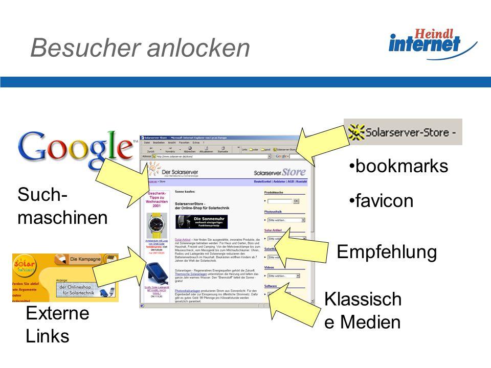 Besucher anlocken bookmarks favicon Such- maschinen Externe Links Klassisch e Medien Empfehlung
