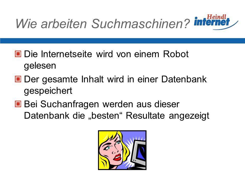 Wie arbeiten Suchmaschinen? Die Internetseite wird von einem Robot gelesen Der gesamte Inhalt wird in einer Datenbank gespeichert Bei Suchanfragen wer