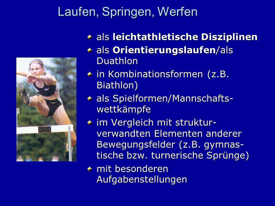 Laufen, Springen, Werfen als leichtathletische Disziplinen als Orientierungslaufen/als Duathlon in Kombinationsformen (z.B. Biathlon) als Spielformen/