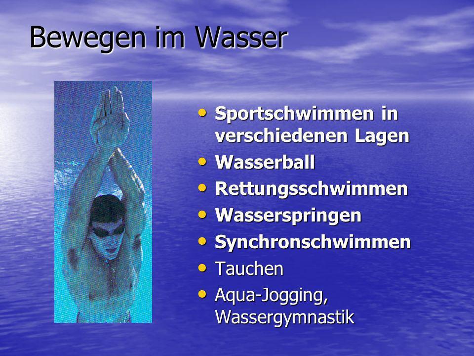 Bewegen im Wasser Sportschwimmen in verschiedenen Lagen Sportschwimmen in verschiedenen Lagen Wasserball Wasserball Rettungsschwimmen Rettungsschwimme