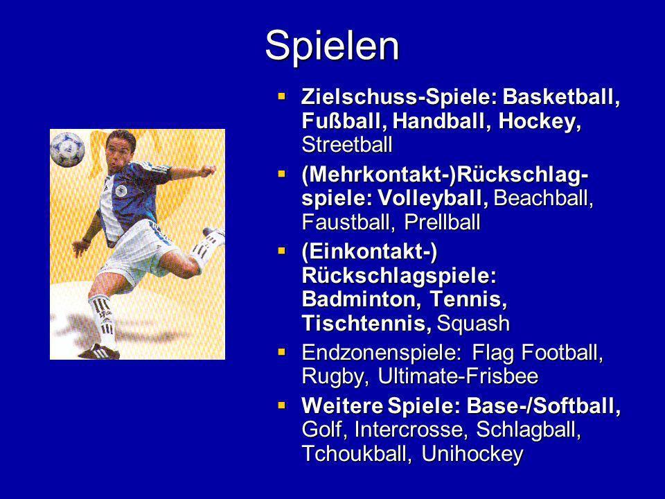Spielen Zielschuss-Spiele: Basketball, Fußball, Handball, Hockey, Streetball Zielschuss-Spiele: Basketball, Fußball, Handball, Hockey, Streetball (Meh