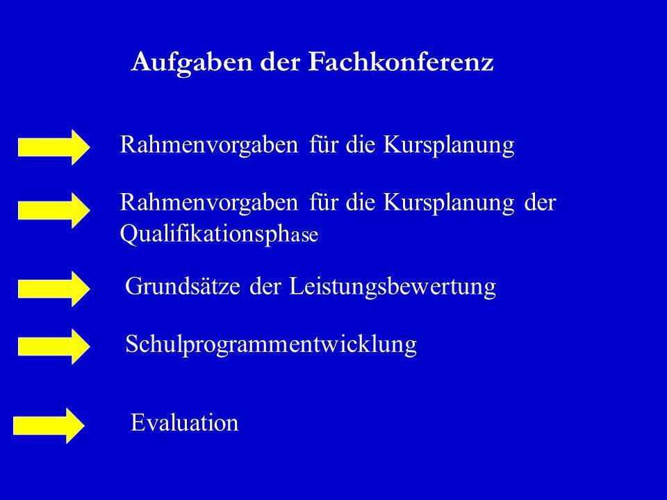 Aufgaben der Fachkonferenz Rahmenvorgaben für die Kursplanung Rahmenvorgaben für die Kursplanung der Qualifikationsph ase Grundsätze der Leistungsbewe