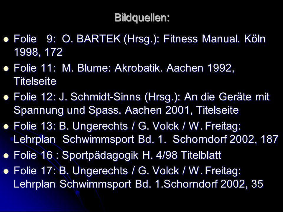 Bildquellen: Folie 9: O. BARTEK (Hrsg.): Fitness Manual. Köln 1998, 172 Folie 9: O. BARTEK (Hrsg.): Fitness Manual. Köln 1998, 172 Folie 11: M. Blume: