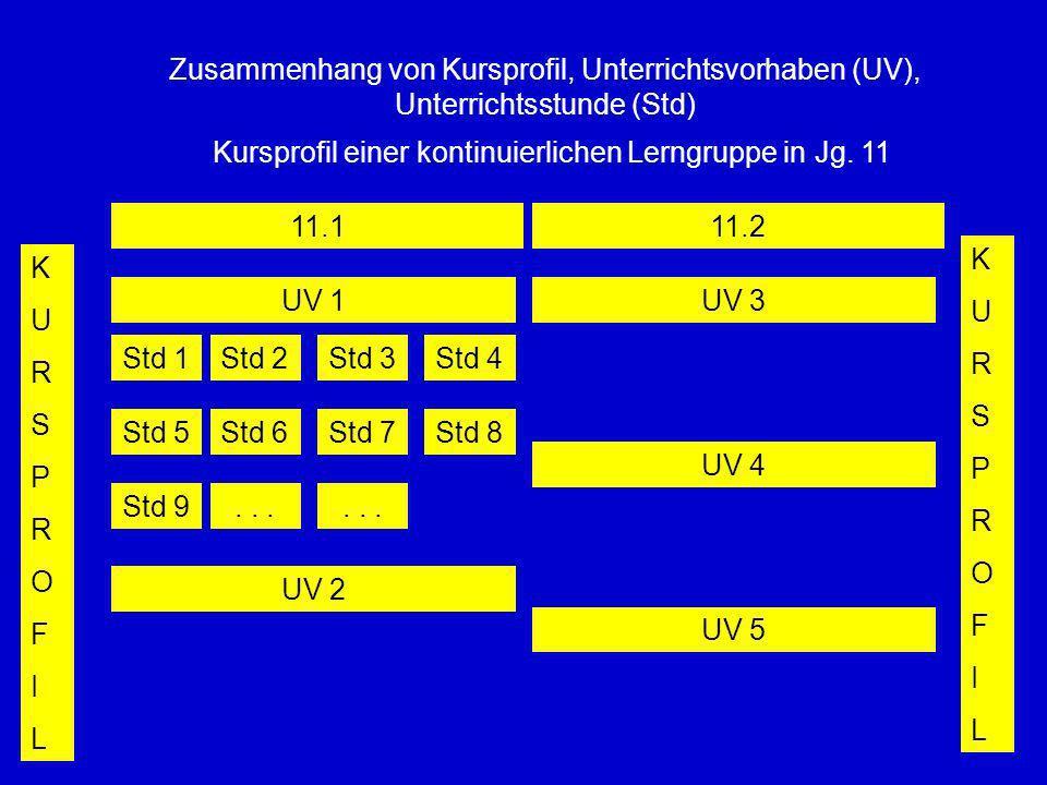 Zusammenhang von Kursprofil, Unterrichtsvorhaben (UV), Unterrichtsstunde (Std) Kursprofil einer kontinuierlichen Lerngruppe in Jg. 11 11.111.2 KURSPRO